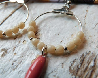 Earrings small hoops sequin drop coral
