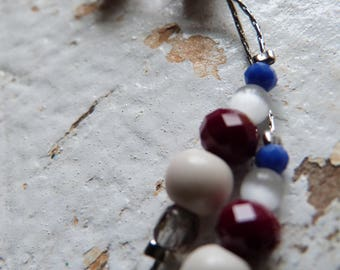 Necklace Silver Blue and Burgundy