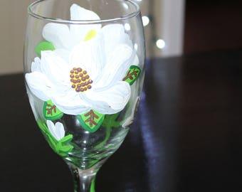 Magnolia Wine Glass *Hand Painted Wine Glass*