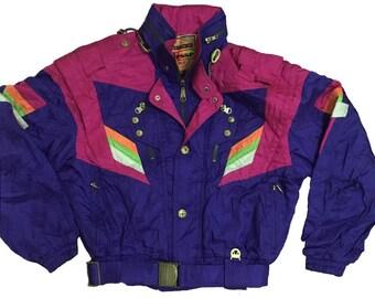 Vintage ELLESSE Hidden Hooded Ski Wear Multicolor JAcket Snowboarding