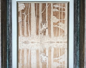 Nature,landscape,absteact,wall art, wood, water, beige/brown colors, framed