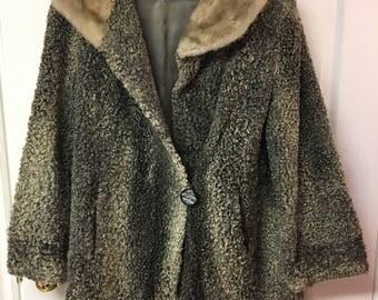 Persian Lamb Fur Coat - Grey with Fur Collar - sz  M