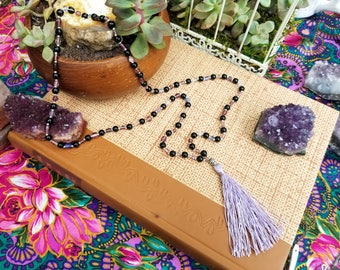 Lavender tassel necklace - Glass beads and fringe bohemian necklace