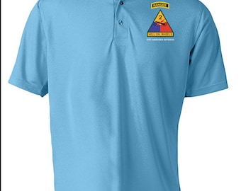 2nd Armored Division w/ Ranger Tab Embroidered Moisture Wick Polo Shirt -3373