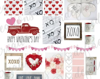 Rae Dunn Inspired Valentine's Day Planner Stickers