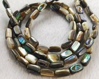 1 Full Strand Rainbow Abalone Shell Beads , Paua Shell Beads , 6 x 10mm Abalone beads jewelry supply