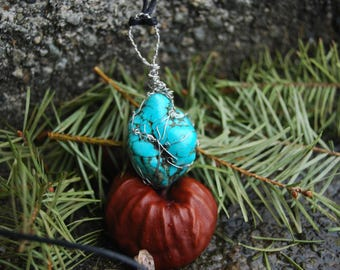 Turquoise stone wrapped