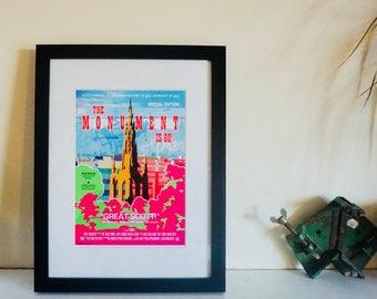 "Movie Poster ""Monument Is Go!"" The Scott Monument wall art, Edinburgh print, Scottish Art"