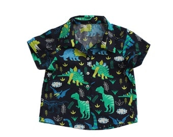 Baby Shirt, 12-18 Months, Dinosaurs, Front Button baby Shirt, Party Wear.