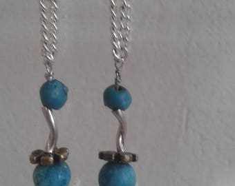 Single earring with turquoise and silver twisted tubes