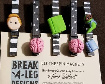 MADE TO ORDER: Fridge Magnets, Clothespin Magnets,  Photo Clips,  Chip Clips, Brain Magnets, Custom Handmade Clothespin Clay Magnets
