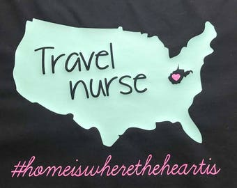 Monogrammed Travel Nurse Tee Shirt