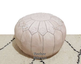 Pair (2) Natural Moroccan Leather Pouf, Moroccan Pouf Ottoman Footstool Poof Poufs