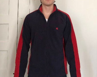 Mens (L) blue and red fleece jacket by brooks brothers