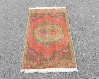 Oushak Rug,Small Oushak Rug,Vintage oushak Door mat,Anatolian handwoven Oushak rug for small space,Tapis Ref.1047