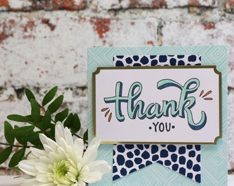 Thank You Card Hand Stamped and Coloured in Blues, Square Card with Matching Envelope
