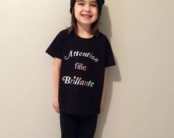 "T shirt ""Warning bright girl"" 3/4 or 5/6 or 7/8 years"
