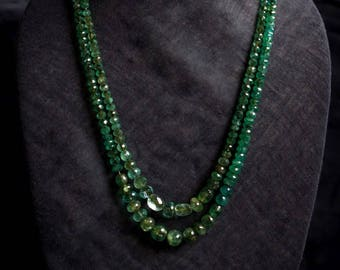 Faceted Emerald 2 String Necklace