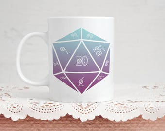 Esoteric D20 Die Mug - 11 Ounce Coffee / Tea Pretty Boho Chic Dice Motif Mug Gift for Dungeons And Dragons / DnD / D&D Tabletop Gamers