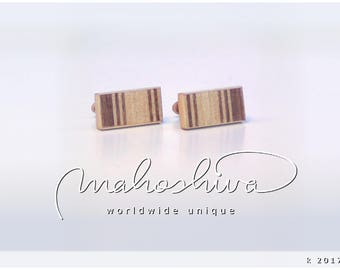wooden cuff links wood walnut maple handmade unique exclusive limited jewelry - mahoshiva k 2017-96