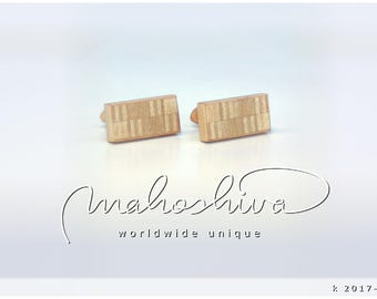 wooden cuff links wood alder maple handmade unique exclusive limited jewelry - mahoshiva k 2017-101