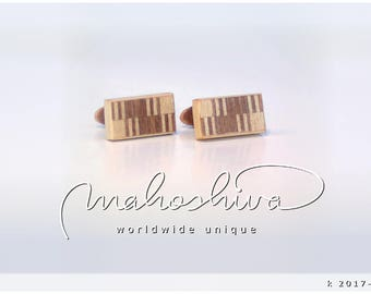 wooden cuff links wood walnut maple handmade unique exclusive limited jewelry - mahoshiva k 2017-115