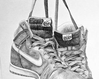 Sneaker Pen & Ink Print