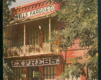 Wells Fargo Building Union Oil Co Natural Color Scenes of the West Photo Postcard Columbia CA (12568)