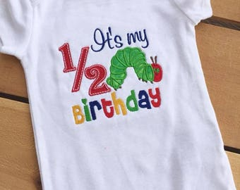 Personalized It's My 1/2 Birthday Hungry Caterpillar Outfit