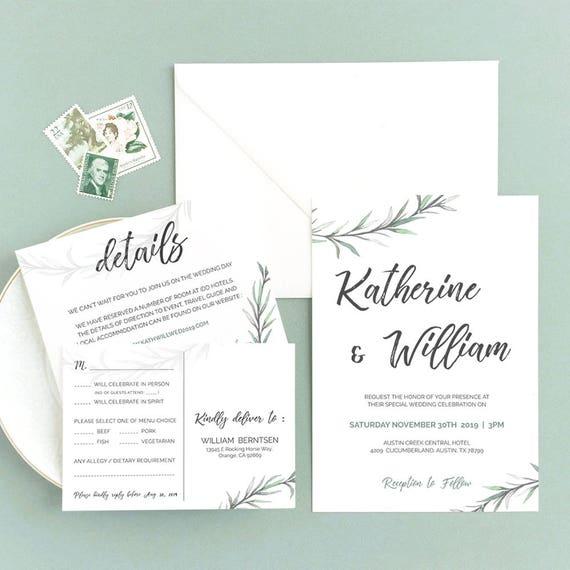 greenery wedding invitation set templates printable download