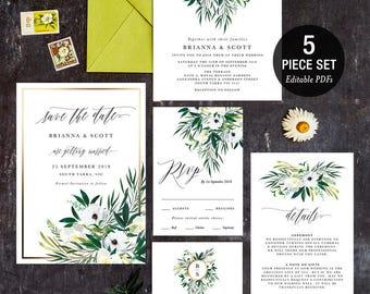 INSTANT DOWNLOAD Wedding Invitation Printable Template Set - White Flowers Greenery Wreath Monogram Gold 03