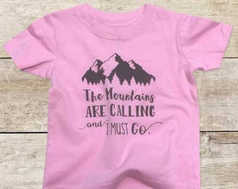 The Mountains are Calling and I must go - boho hipster camping Baby bodysuit or Toddler Shirt or Youth Shirt - cute baby shower gift