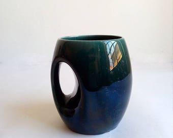 Vintage Blue Ceramic Mug from Secla - Portugal. Modernist style.