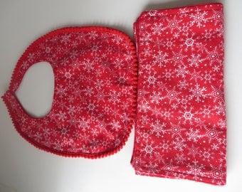 Bib & Burp Cloth HANDMADE in Red For Baby Gift Brand New
