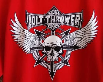 """Bolt Thrower """"Wings"""" red shirt Rare ! (Napalm Death, Carcass, Morbid Angel, Entombed, Death Metal, War Metal)"""