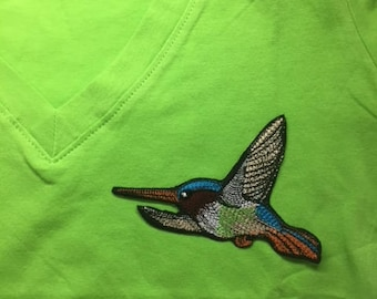 Hummingbird embroidery patch iron on or sew
