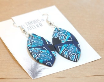 Navettes, blue, ethnic earrings, Bohemian, psychedelic, unique, lightweight