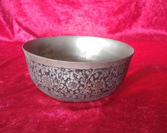 Very Authentic Hand Carved Ottoman Art Style Antique Copper Bowl #1935