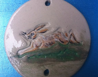 Disc hanging in white stoneware decorative Hare.