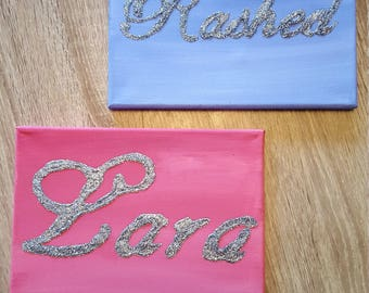 Personalized canvas with glittery name, boys girls name on canvas