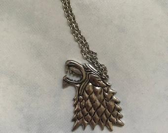 Game of Thrones, Stark Necklace, Direwolf Necklace, House Stark