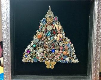 Vintage Rhinestone Christmas Tree in Shadowbox