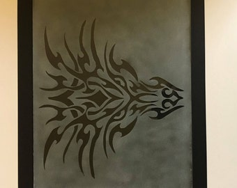 Tribal Dragon Etched Glass