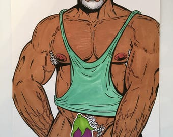 GAY MALE ART Sexy Papi Nude Bear Original Illustration Muscle Daddy Lgbt Drawing - Pen, Ink, Markers