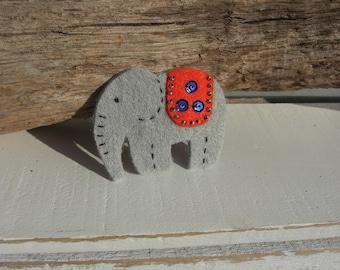 Elephant Brooch (Orange)