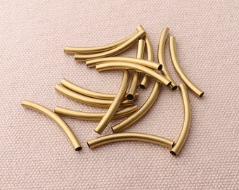20pcs Gold 30mm Curved Long Tube Beads Spacer Tube For Jewelry Finding