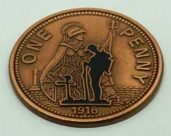 WW1 1918 Old Penny Remembrance Day Graveside Mourning Badge