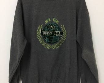 Vintage 90s GUESS by George Marciano Spell Out Sweatshirt Medium Size