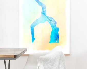 Watercolor yoga artwork, Watercolor artwork, Printed watercolor pose, Printed Yoga pose artwork Wall art, Meditate wall decor