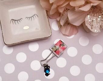 Birthstone Owl Blue Roses; pen clip, pen loop